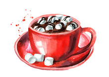 Red Cup Of Cocoa With Marshmallows. Watercolor Hand Drawn Illustration, Isolated On White Background