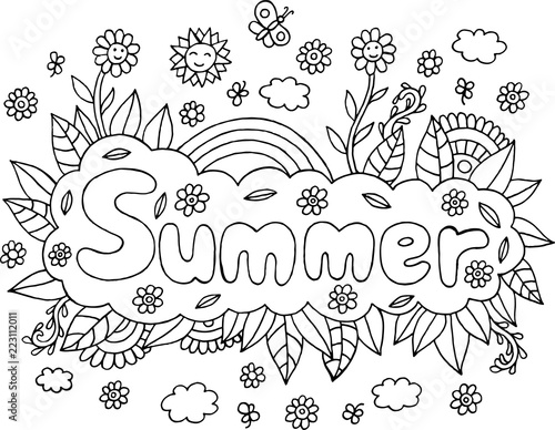 Fotografía  Coloring page for adults with mandala and Summer word