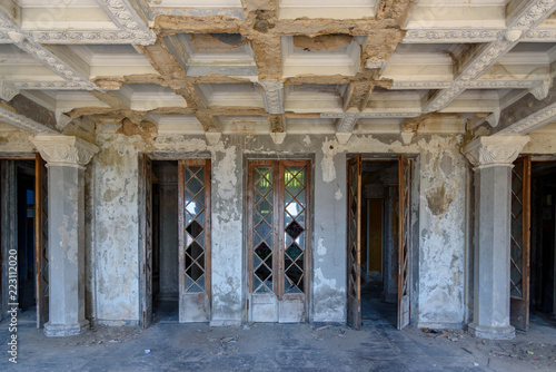 Inside view of old abandoned theater building in Gagra, Abkhazia Georgia Canvas Print