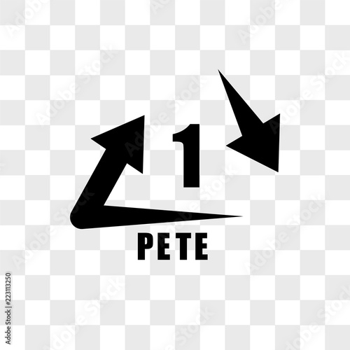 Photo  1 PETE vector icon isolated on transparent background, 1 PETE logo design