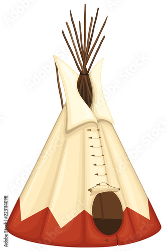 Vector illustration of a Native American tipi (teepee). Canvas