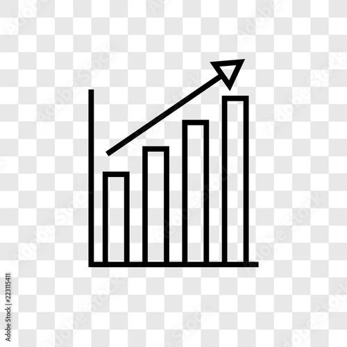 Fotografía  Bar chart vector icon isolated on transparent background, Bar chart logo design