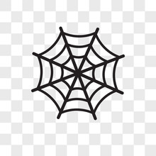 Spider Web Vector Icon Isolated On Transparent Background, Spider Web Logo Design