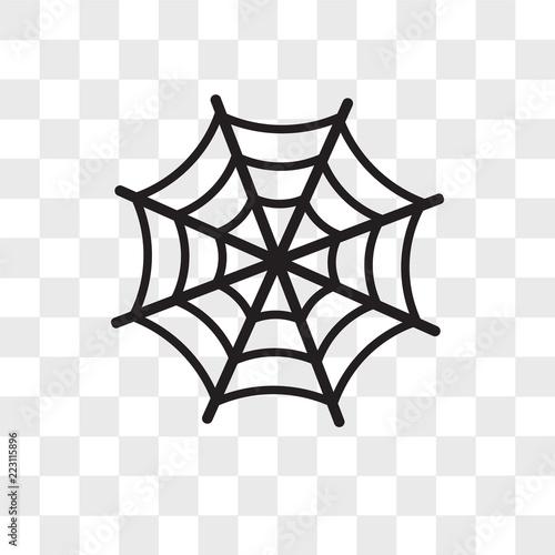 Valokuvatapetti Spider web vector icon isolated on transparent background, Spider web logo desig