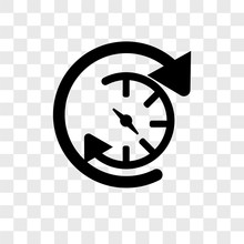 Anti Clockwise Icons Isolated On Transparent Background. Modern And Editable Anti Clockwise Icon. Simple Icon Vector Illustration.