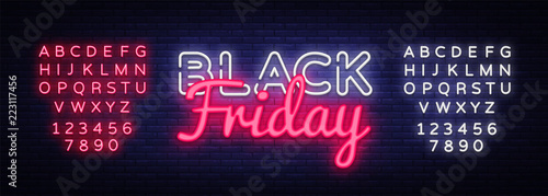Photo Black Friday Sale neon text vector design template