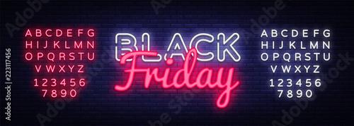 Fotografija Black Friday Sale neon text vector design template