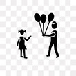 man child and balloons icon on transparent background. Modern icons vector illustration. Trendy man child and balloons icons