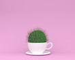 Leinwanddruck Bild - Creative made of cactus with coffee cup on pink pastel background. minimal  concept. Idea creatively to produce work within an advertising marketing communications