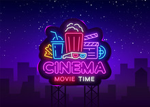 Movie Time Neon Logo Vector. C...