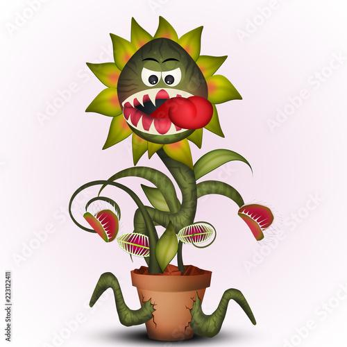 Carta da parati funny illustration of carnivorous plant