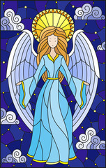 NaklejkaIllustration in stained glass style with girl angel in blue dress on background of starry sky and clouds