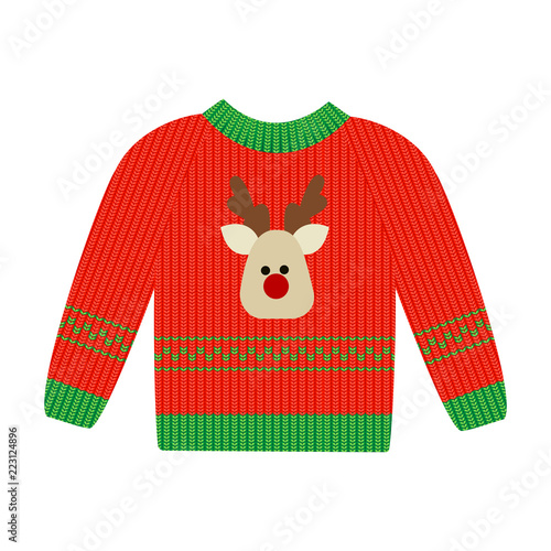 Vector illustration of a red Christmas sweater with deer фототапет