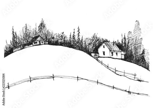 Country landscape  Graphic work with ink  Black and white