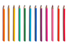 Set Of Color Pencils Isolated On White Background.