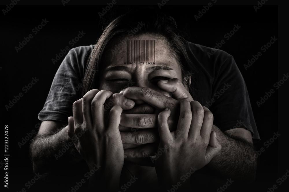 Fototapeta Human trafficking, Stop abusing violence woman, slave.
