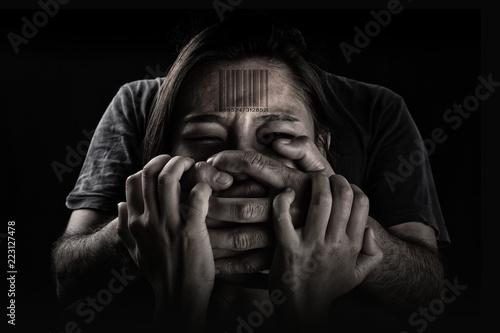 Human trafficking, Stop abusing violence woman, slave. Wallpaper Mural