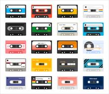 Vintage Cassette Icon Set. Fla...