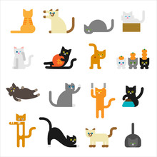 Geometric Style Cute Cat Character. Flat Design Style Vector Graphic Illustration