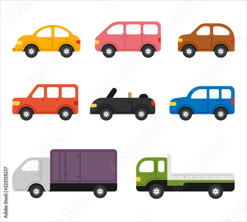 Spoed Foto op Canvas Cartoon cars cute shape car simple icon set. flat design style vector graphic illustration