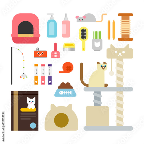 Fotografia  cat and cat supplies icon set