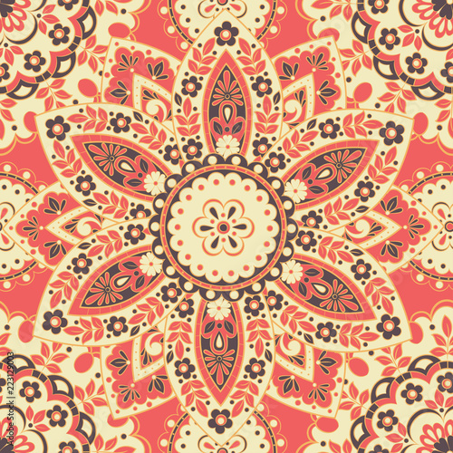 Arabesque seamless pattern. Vector Background Vintage Indian Style