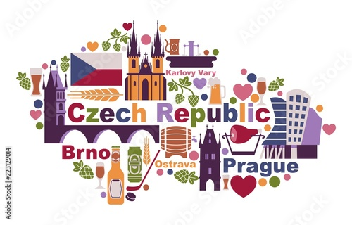 Symbols of the Czech Republic in the form of a map Tablou Canvas