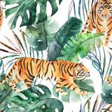 Akwarela bezszwowe wzór. Tropikalne liście dżungli i tygrysa. Ręcznie rysowane ilustracja - 223130614
