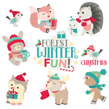 Cute Forest Animals In Winter ...