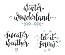 Winter Seasonal Inspirational Calligraphy Set. Wonderland, Sweater Weather, Let It Snow Hand Written Lettering
