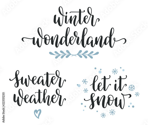 Fotografía  Winter seasonal inspirational calligraphy set