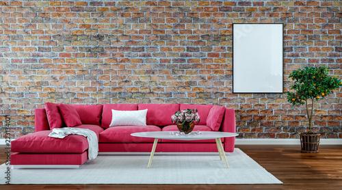 modern interior design living room, old brick wall, retro ...