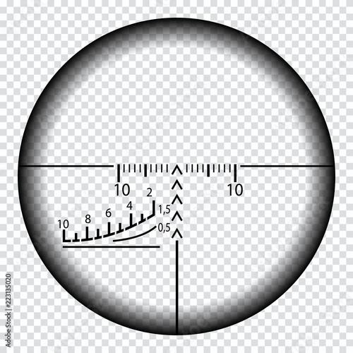 Carta da parati Realistic sniper sight with measurement marks