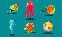 Sea Creatures Set, Cute Funny Animals And Fishes Characters, Seahorse, Snail, Cuttlefish, Puffer Fish, Hermit Crab Vector Illustration