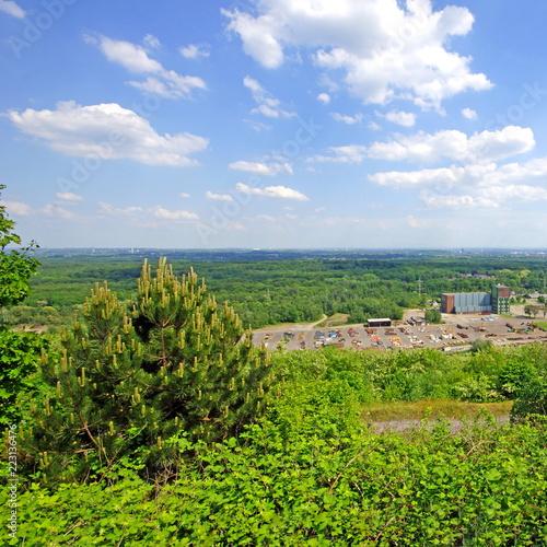 In de dag Lime groen Blick von der Halde HANIEL in Bottrop auf den Bergbau Prosper und das Ruhrgebiet