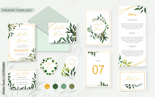 Fototapeta Wedding floral gold invitation card envelope save the date rsvp menu table obraz