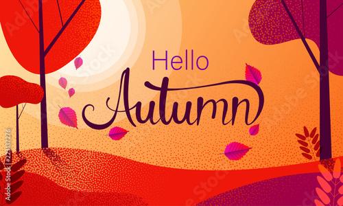 Obraz Hello autumn. Red poster with park landscape. - fototapety do salonu