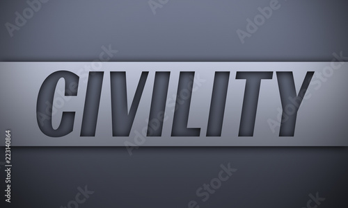 Valokuvatapetti civility - word on silver background
