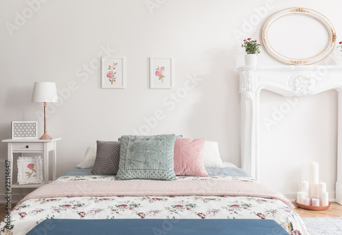 Romantic bedroom interior Romantic Ambiance Honeymoon Romantic Bedroom Interior In English Style With Rose Pattern On Bed Cover And Illustrations Adobe Stock Honeymoon Romantic Bedroom Interior In English Style With Rose