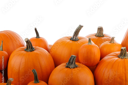 Aluminium Prints Autumn Heap of orange pumpkins