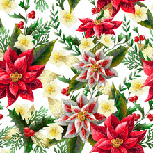 Seamless Pattern With Christmas Flowers. Vector,