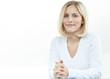 canvas print picture - Frau im Homeoffice vor weissem Hintergrund