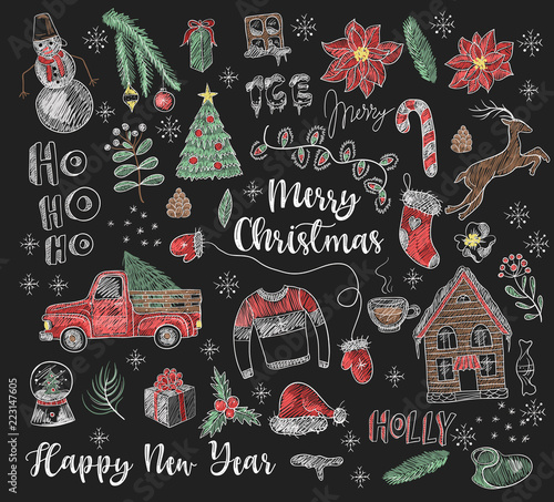 Set of Christmas elements painted colored chalk on blackboard Wallpaper Mural