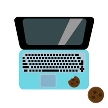 Laptop And Coffee On A Color Background