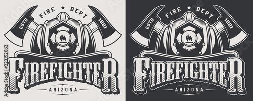 Vintage firefighting emblems Poster Mural XXL