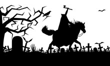 Illustration Of A Headless Horseman Isolated On White