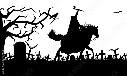Photo Illustration of a headless horseman isolated on white