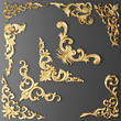 canvas print picture - Gilded stucco, collection gold cartouche