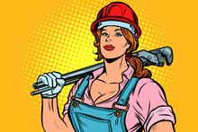 Pop Art Woman Plumber Mechanic...