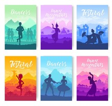 Traditional Dances From All Over The World Brochure Cards Set. Cultural Dancer Styles Template Of Flyear, Magazines, Poster, Books, Invitation Banners. Travel Festival Layout Modern Design